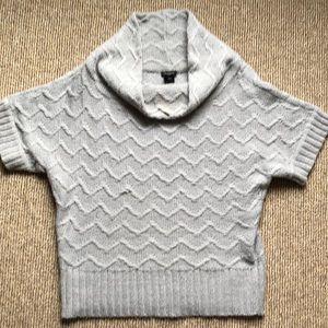 Ann Taylor Cowl neck shorty sleeve grey sweater